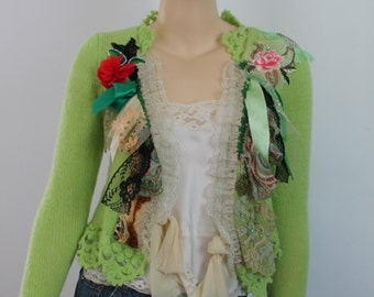 Chartreuse Green Hand Knit Crochet Sweater Shabby chic ANTOINETTE Boho Gypsy Fairy Tattered Romantic Textile Collage -Wearable Art -Size S/M
