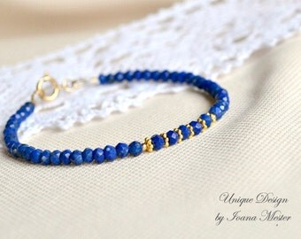 Lapis lazuli bracelet, gold filled lapis bracelet, blue and gold bracelet, stackable bracelet