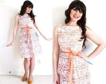 1960s Lace Dress / 60s Peach Dress / 50s 60s Bridesmaid Dress