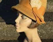 Antique Flapper Golden Yellow Cloche Hat