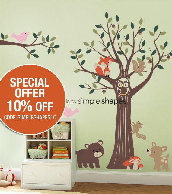 SALE Today ONLY!  Use Coupon Code SIMPLESHAPES10 for 10% off - Forest Friends Tree Decal Set - Kids Wall Decals, Baby Nursery Wall Decals