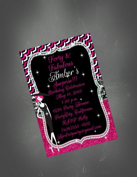40th birthday invitation 40th party pink and black invite glitter il570xn filmwisefo