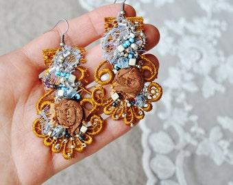 Venice Sunset -Bohemian Hand Beaded Earrings/Lightweight romantic earrings