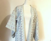 Vintage KIMONO jacket HAORI wool icy grey bamboo flower naby blue red motif  size S ready to ship