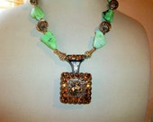 Cowgirl Necklace with Silver Concho Chunky Lime Magnesite and Champagne Crystals       Free Shipping in the USA