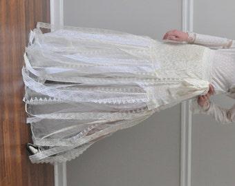 Ivory Crinkled Taffeta /Tulle Shredded Lace Wrap Skirt, Steampunk Bohemian Gypsy, Belly Dance, Wedding, Bridesmaid