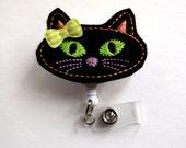 Black Cat - Retractable Badge Reel - Name Badge Holder - Cute Badge Reel - Nurse Badge Holder - Nursing Badge Clip - Felt Badge - RN