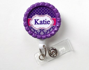 Personalized Badge Moroccan Damask Purple - ID Badge Holder - Name Badge Holder - Teacher Badge - Nursing Badge - Nurse Badge Holder