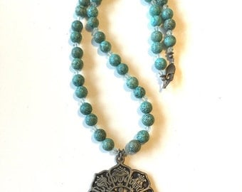 Turquoise Silver Crystal Beaded Artisan Statement Pendant Necklace Sanskrit Yoga Spiritual One of a Kind Stone Jewelry gift