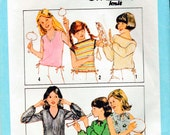 Simplicity 8602 Girls 6 style top 70s sew pattern