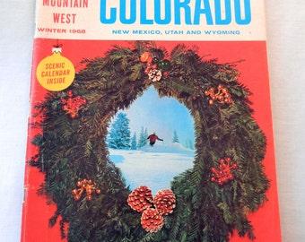 Colorado Rocky Mountain West Magazine, Winter, Large 1969 Wall Calendar, Christmas, 60s Tourism Ads, Skiing,