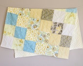 baby quilt - yellow, gray, turquoise with yellow minky dot backing