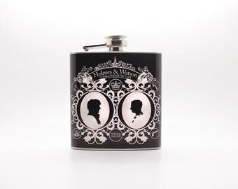 SALE Sherlock Holmes Flask 6 oz. Stainless Steel - Great Unisex Gift - John Watson 221B Baker Street Victorian Cameo