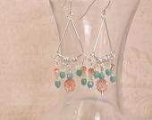 Sea Foam Green, Yellow & Peach Crystal Chandelier Earrings