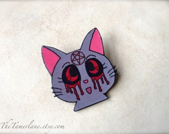Sailor Moon Luna Cat gothic style Usagi black cat Sailor Venus Pin Pinback