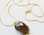 Long pendant necklace, wire wrapped Botswana agate, faceted stone necklace, gifts for her under 20