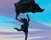 Woman in the Sky, Original Painting on Wood Panel, Figure Art Dancer Sunset Silhouette Flowing Veil