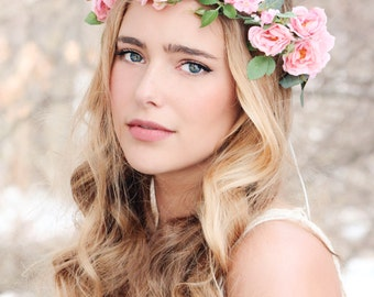 Flower crown, Pink rose wreath, bridal hair, woodland wedding, rustic headpiece