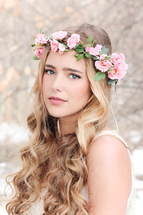 Wedding Hair Flowers Pink : Flower crown pink rose wreath bridal hair woodland wedding