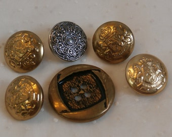 6 Metal Buttons Crafter's Lot, Different Shapes and Sizes for Sewing and Decorating