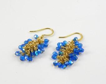 Dark Aqua Beaded Dangle Earrings, Gold Cluster Earrings , Malibu Blue
