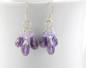 Amethyst and Crystal Teardrop Earrings, Amethyst Dangle Earrings on Sterling Ear Wires