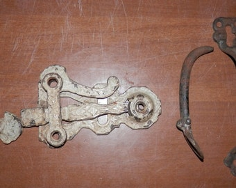 antique door thumb latch cast iron early victorian as found with catch complete