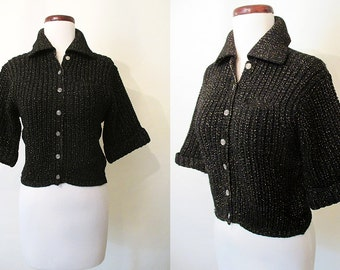 "Adorable 1950's Lurex  Black & Gold  Cropped Knit Wool Sweater by ""Rosanna"" Rockabilly VLV Pinup Sweater Girl Vixen Size-Small-Medium"