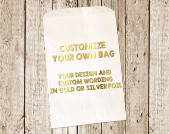 Gold Foil Printed Custom Favor bags/Candy bags/Candy Bar bags  25 count gold/