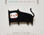 Blackjack with His Bow Tie - Handmade Shrink Plastic Brooch or Magnet - Wearable Art - Made to Order