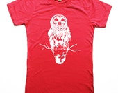 Unisex - Womens Red Owl Tshirt - Owl Tee - Small, Medium, Large and Extra Large