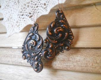 Rusty Black Flourish Statement Earrings