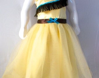 Pocahontas Dress: Tutu Dress, beige brown & turquoise, birthday party, princess dinner trip, adjustable, halloween costume, indian princess