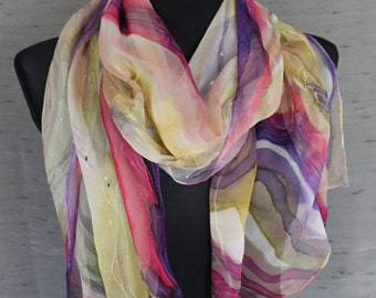 Fashion silk scarf, hand painted in elegant shades of ivory, fuchsia, pink, purple, yellow. Chiffon scarf, transparent piece of wearable art