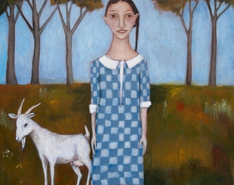"painting folk art portrait woman and goat 18""x24"" original acrylic on canvas"