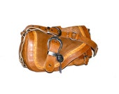 Vintage CHRISTIAN DIOR Gaucho Bag Brown Suede Leather Saddle Purse -AUTHENTIC-