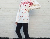 SALE / Vintage Christian Dior 1970's Polka Dot & Snowflake Nordic Red Cream Angora Knit Pullover Sweater M