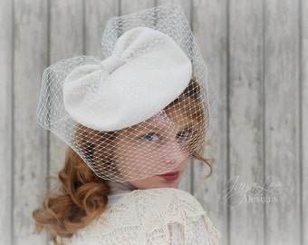 White Tilt Hat With Veil 1940's Vintage Style