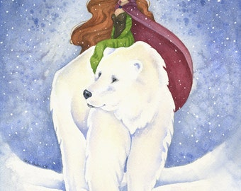 Fairy Tale Art Print - Polar Bear Journey - watercolor. illustration. girl. winter. snow. fantasy.