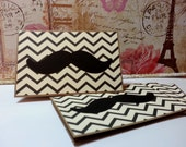 Mustache on Chevron ZigZag - Blank Cards Thank You Cards Mini Cards ( Set of 4)