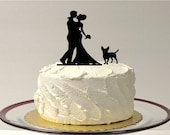 Wedding Cake Topper Silhouette WITH PET DOG Wedding Cake Topper Bride + Groom + Dog Pet Family of 3 CakeTopper