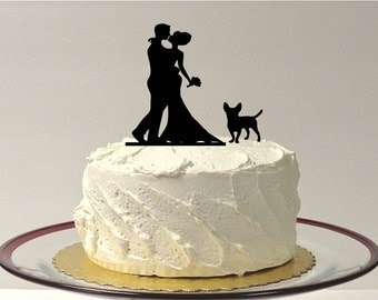 MADE In USA, Wedding Cake Topper Silhouette with Pet Dog, Wedding Cake Topper Bride + Groom + Dog Pet Family of 3, Silhouette CakeTopper
