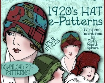 Sew 4 Vintage 1920s Downton Abbey FLAPPER CLOCHE Hat e-Patterns (Shirley Set) PDF A