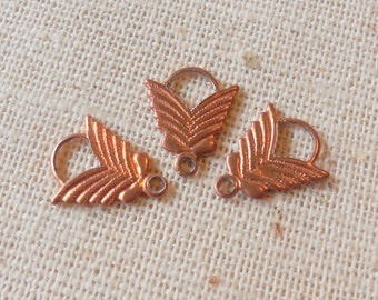 Vintage Copper Coated Steel Nouveau Leaf Drops/Charms (24)