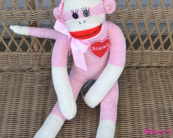 Personalized Sock Monkey Doll  in Pink