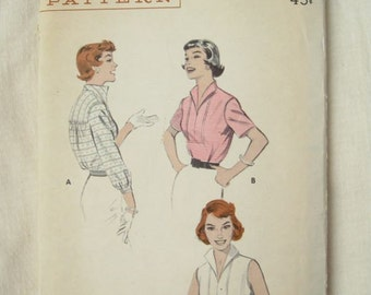 1950s Butterick 7255 Vintage Sailor Blouse Sewing Pattern Bust 36