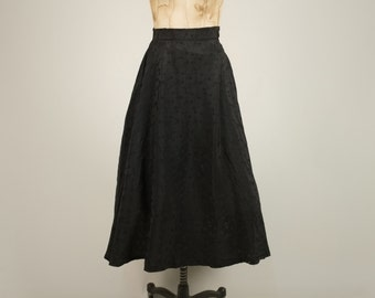 1940s silk full skirt • vintage 40s skirt • black evening skirt