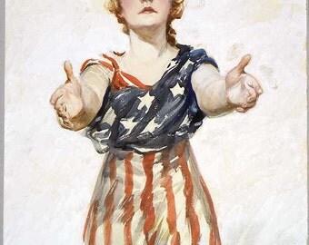 Columbia Miss America Vintage illustration patriotic circa 1909