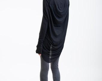 Black Tunic Cowl Back / Transparent Casual Shirt / Long Sleeve Extravagant Tunic / Oversize Blouse / marcellamoda - MB094