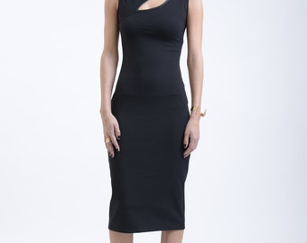 Black Dress / Party Dress / Sleeveless Dress / Sheath Ponte Dress / Party Dress / Fitted Dress / Sexy Dress / marcellamoda - MD152